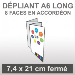Dépliant A6 long 8 faces en accordéon